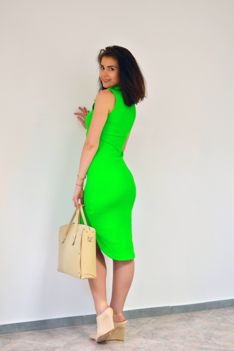 HM Neon green dress