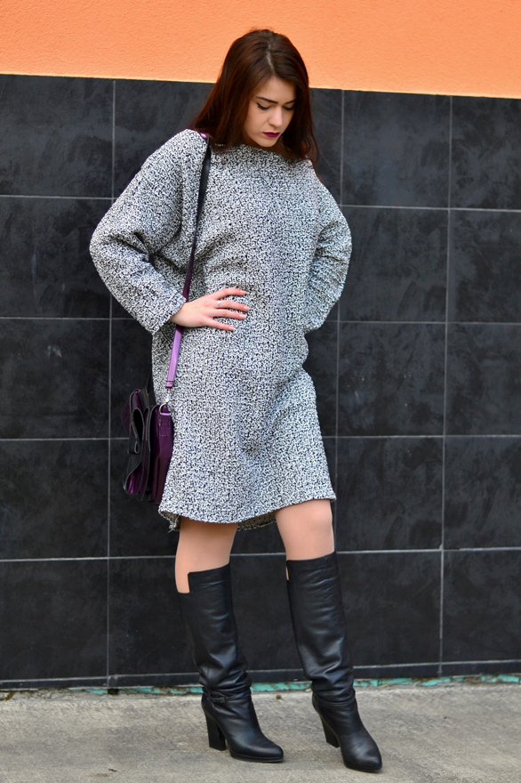 Sweater-dress-black-and-white